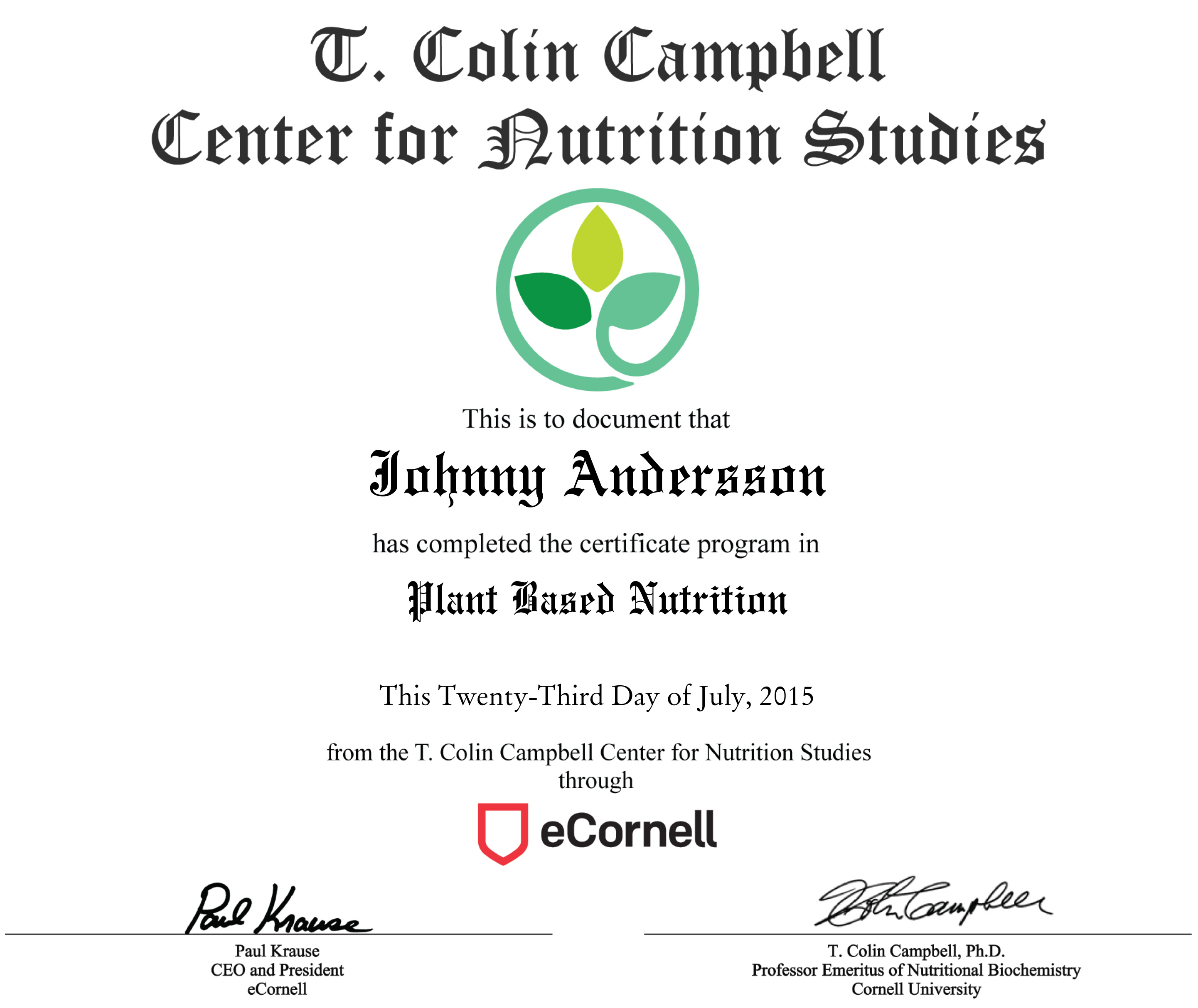 Pland-Based Nutrition Certificate